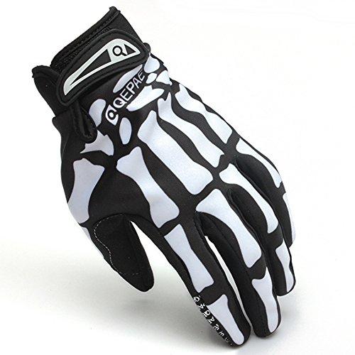 White Motorcycle Racing Biker Full Finger Gloves Skeleton Skull Bone Size L