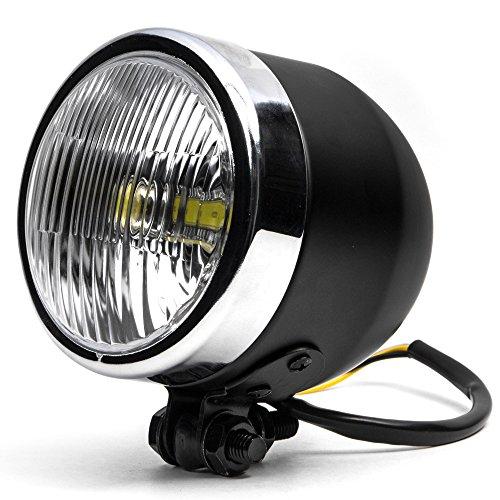 Krator 425 Mini Headlight w High Low Beam Lights LED Bulb Black w Chrome Housing for Harley Davidson Softail Fat Boy FLSTF