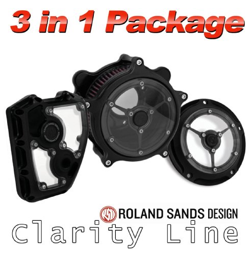 Roland Sands Design Clarity Air Cleaner with Derby and Cam Cover Package - Black Ops For 1999 to Present Harley Davidson Twin Cam
