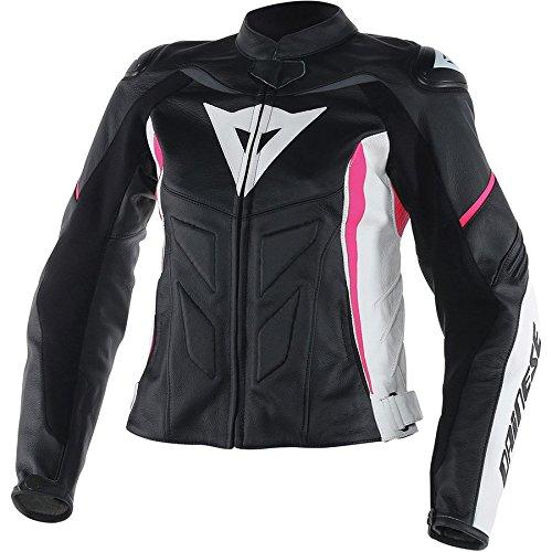 Dainese Avro D1 Womens Leather Motorcycle Jacket BlackWhiteFuchsia Pink 46 Euro8 USA