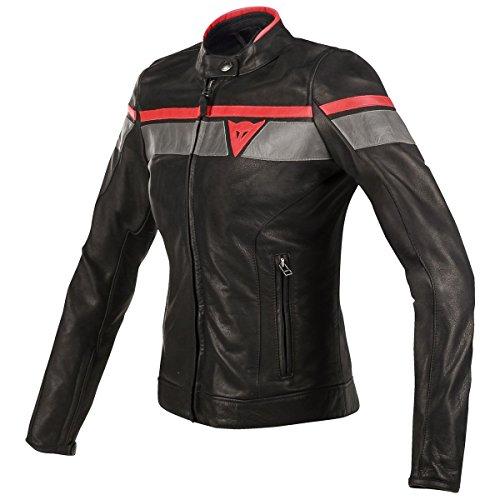 Dainese BlackJack Womens Leather Motorcycle Jacket BlackGrayRed 42 Euro
