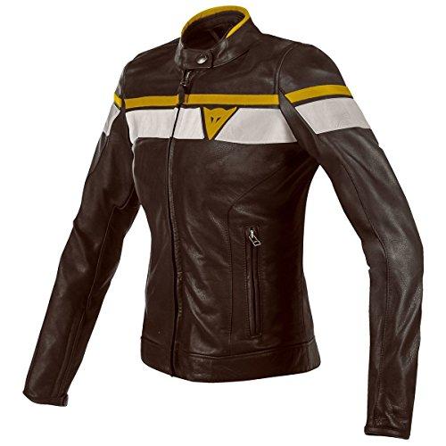 Dainese BlackJack Womens Leather Motorcycle Jacket Dark BrownWhiteGold 44 Euro