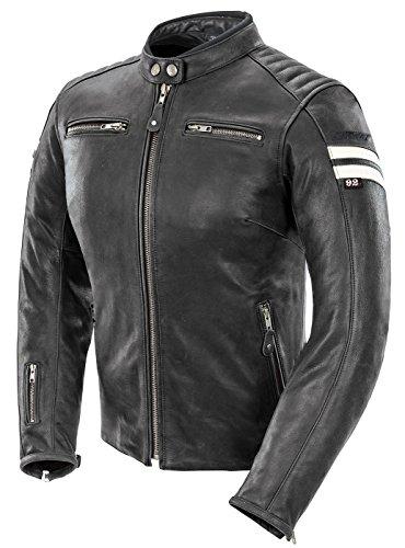 Joe Rocket Classic 92 Womens Leather Motorcycle Jacket BlackWhite Medium