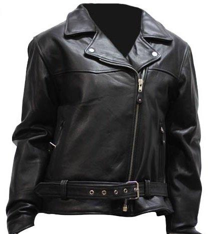 Womens Leather Motorcycle Jacket Half Belt ZO Lining Size 4XL 4X-Large