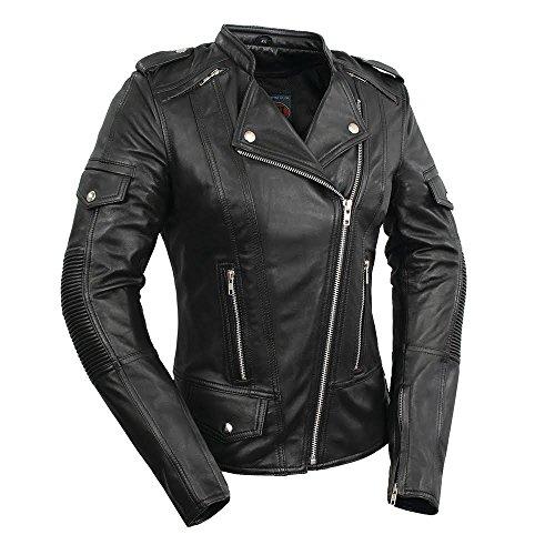 First Manufacturing Womens Tantrum Leather Motorcycle Jacket Black Medium