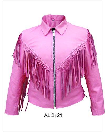 Ladies Pink Leather Biker jacket w fringe braid side lace zip-out lining-AL2121-L