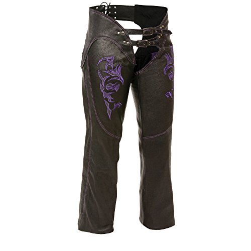 Milwaukee Womens Leather Chaps BlackPurple X-Large