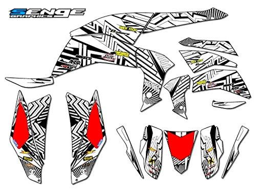 Senge Graphics 2008-2016 Kawasaki KFX 450R Mayhem White Graphics Kit