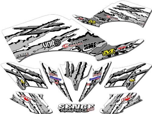 Senge Graphics 2008-2016 Kawasaki KFX 450R Shredder White Graphics Kit