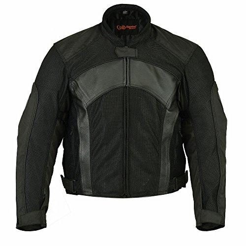 DS750BK Mens Mesh Leather Padded Jacket - Motorcycle Jacket