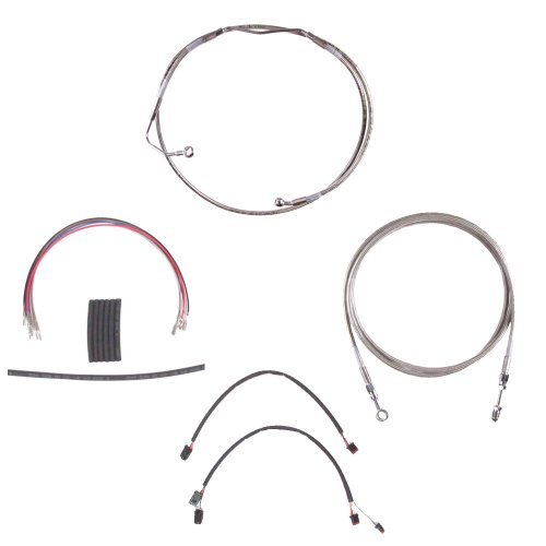 Hill Country Customs Complete Stainless Hydraulic Line Kit for 14 Handlebars on 2014-2015 Harley-Davidson Street Glide Road Glide Ultra Classic and Limited Models with ABS HC-CKC11914A-SS