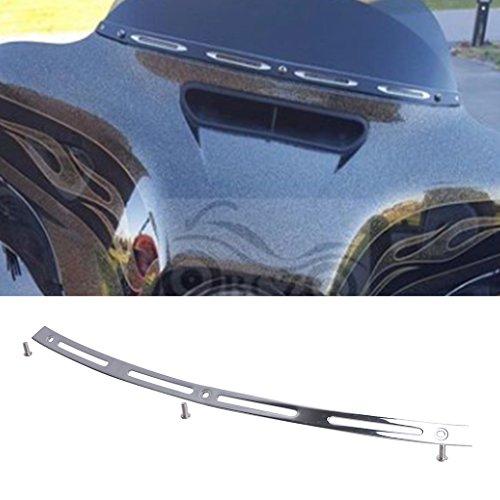 General Mega Chrome Metal 4 Slotted Windshield Trim For Harley Davidson TOURING BAGGER BATWING 1996-2013