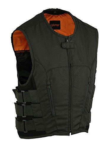 DS112BK Mens Updated Textile SWAT Team Style Vest - Motorcycle Vest