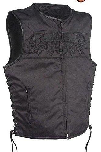 Mens Motorcycle Side Reflective Skull Textile Vest With Side Lace 2 Gun PocketsRegular 4XL