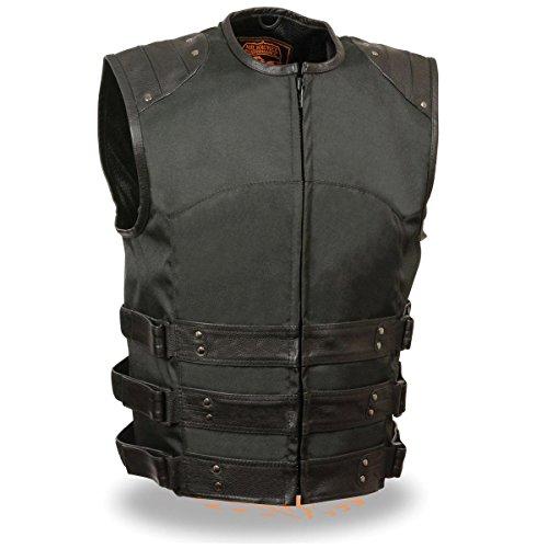 Milwaukee Leather Mens Zipper Front Assault LeatherTextile Vest with Gun Pocke - Small