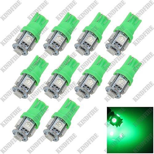 Kindfire 10pcs T10 5 SMD 5050 LED Car Instrument Reading Lamp Side Light Bulb 12v A0079 Color Green