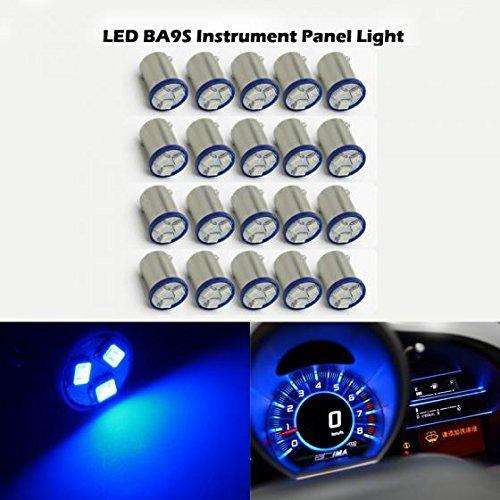 Partsam 20pcs Blue Ba9s LED Light Bulb Car Instrument Panel Gauge Cluster Replacement Lamp Kit 12V 1895 57 53 Lights