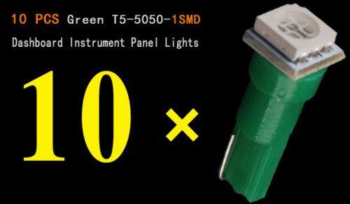 TpfocusT5 Green 5050 1-SMD LED Car Instrument Dashboard Gauge Mini Wedge Bulb light Pack of 10