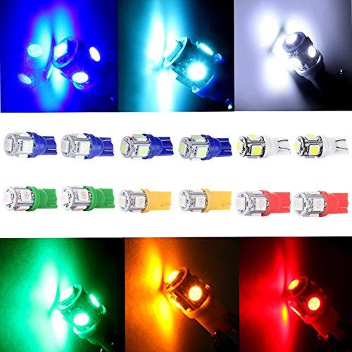 CCIYU 12 Pack T10 W5W 2825 192 5-5050-SMD LED Side Wedge Light Bulb 12V for Dashboard Instrument Panel Light