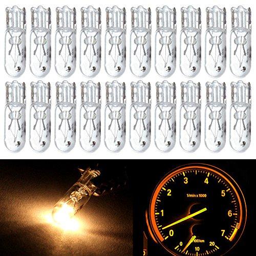 CCIYU 20 Pack T5 17 86 206 Halogen Light Bulb Instrument Cluster Gauge Dash Lamp 12V white