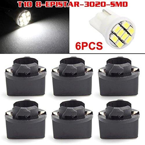 Partsam 6x T10 Wedge 194 168 holder 8-Epistar-SMD LED HID White Bulbs for Honda Civic Gauge Dash Instrument