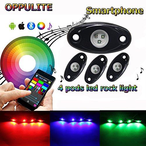 RGB Led Rock Lights Kit 4 Pods Bluetooth Led Rock Light 14 Colors DIY 15 Turning Timing Music Flashing Work Neon Led Interior Lights for Jeep UTV Off Road Truck SUV ATV Motorcycle 4pods