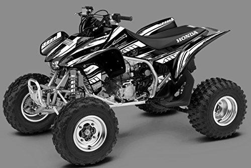 Honda TRX 450R Graphics Kit - Racer-X Black Background White Design 08-16