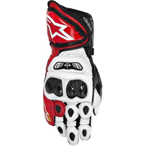 Alpinestars GP Tech Mens Leather Street Bike Racing Motorcycle Gloves - WhiteRedBlack  Large
