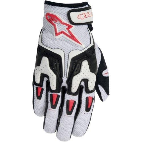 Alpinestars SMX-3 Air Mens LeatherMesh Street Motorcycle Gloves - WhiteBlackRed  2X-Large