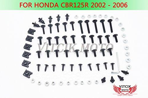 VITCIK Full Fairings Bolt Screw Kits for Honda CBR125R 2002 2003 2004 2005 2006 CBR 125 R 02 03 04 05 06 Motorcycle Fastener CNC Aluminium Clips Black Silver