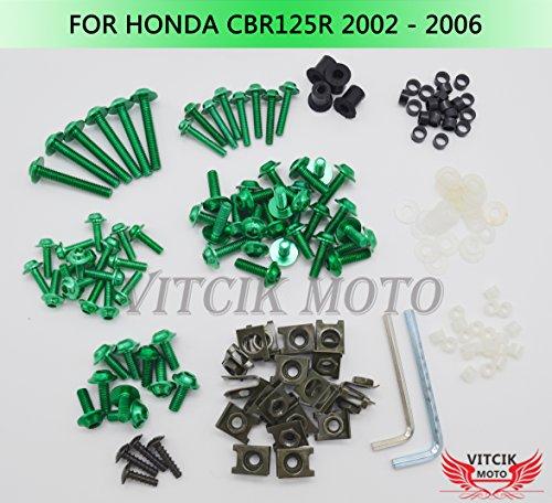 VITCIK Full Fairings Bolt Screw Kits for Honda CBR125R 2002 2003 2004 2005 2006 CBR 125 R 02 03 04 05 06 Motorcycle Fastener CNC Aluminium Clips Green