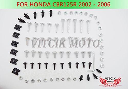 VITCIK Full Fairings Bolt Screw Kits for Honda CBR125R 2002 2003 2004 2005 2006 CBR 125 R 02 03 04 05 06 Motorcycle Fastener CNC Aluminium Clips Silver