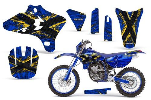 CreatorX Yamaha Yz250F Yz450F Wr250 Wr450 Graphics Kit TribalX Yellow Blue Incl Number Plate Rim Graphics