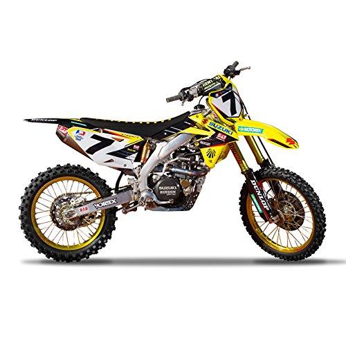 Enjoy MFG 2008-2015 RMZ 450 Team Yoshimura Suzuki Graphics Kit and Custom Number Plates Bundle