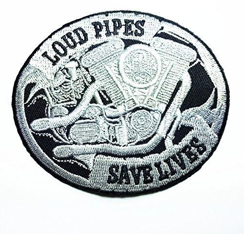 Loud Pipes Saves Lives Biker Patch Motorcycle Jacket Vest Biker Patch Approx 9x78 Cm