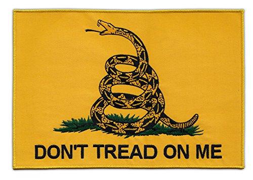 Motorcycle Biker Jacket or Vest Patch Large Back Patch - Gadsden Flag Dont Tread On Me - 2nd Amendment Coiled Snake