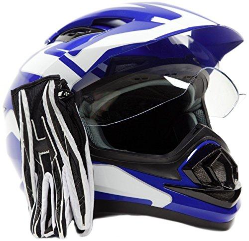 Dual Sport Helmet Combo w Gloves - Off Road Motocross UTV ATV Motorcycle Enduro - Blue  Black - XXL