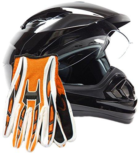 Dual Sport Helmet Combo w Gloves - Off Road Motocross UTV ATV Motorcycle Enduro - Gloss Black  Orange - Small
