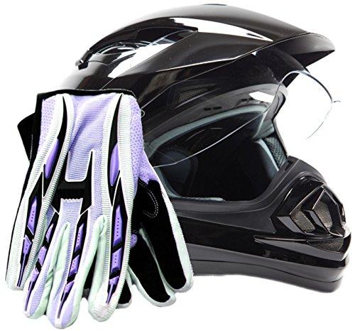 Dual Sport Helmet Combo w Gloves - Off Road Motocross UTV ATV Motorcycle Enduro - Gloss Black  Purple - Small