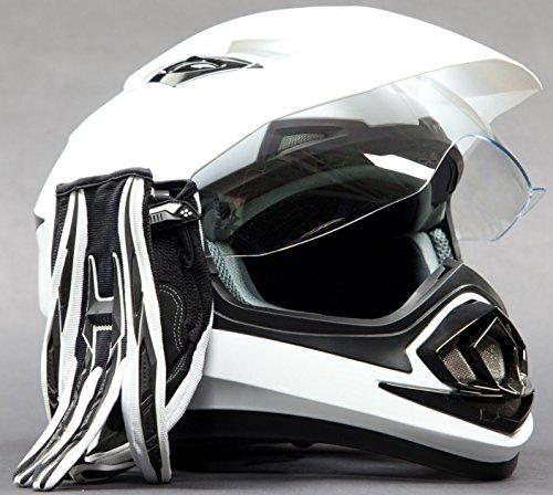 Dual Sport Helmet Combo w Gloves - Off Road Motocross UTV ATV Motorcycle Enduro - Gloss White  Black - XL