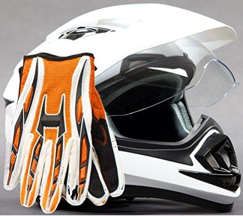 Dual Sport Helmet Combo w Gloves - Off Road Motocross UTV ATV Motorcycle Enduro - Gloss White  Orange - Medium