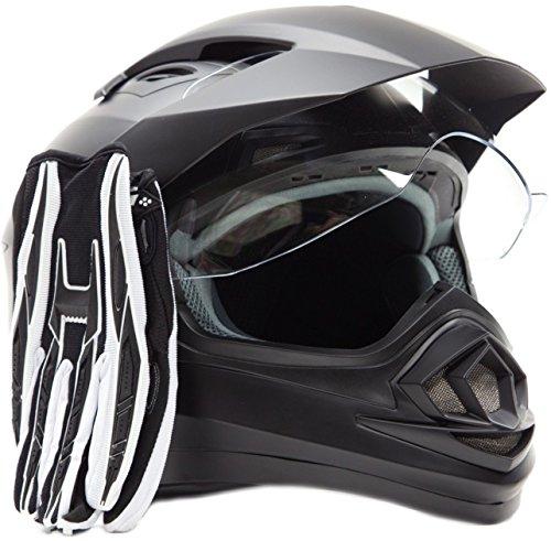 Dual Sport Helmet Combo w Gloves - Off Road Motocross UTV ATV Motorcycle Enduro - Matte Black  Black - Large