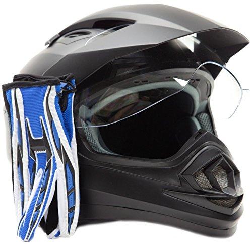 Dual Sport Helmet Combo w Gloves - Off Road Motocross UTV ATV Motorcycle Enduro - Matte Black  Blue - Medium
