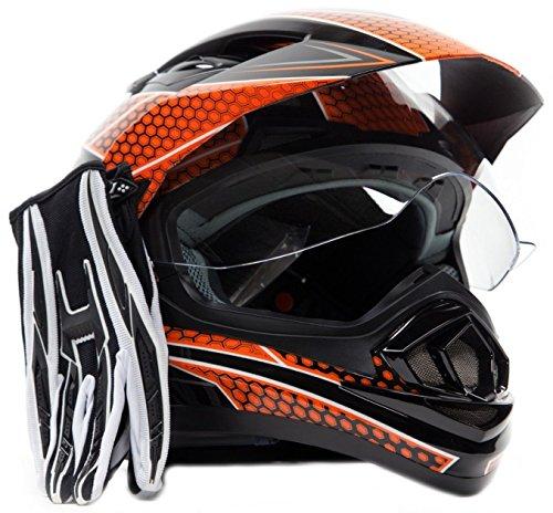 Dual Sport Helmet Combo w Gloves - Off Road Motocross UTV ATV Motorcycle Enduro - Orange  Black - Large