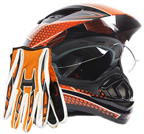 Dual Sport Helmet Combo w Gloves - Off Road Motocross UTV ATV Motorcycle Enduro - Orange  Black - XXL