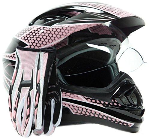 Dual Sport Helmet Combo w Gloves - Off Road Motocross UTV ATV Motorcycle Enduro - Pink - Medium