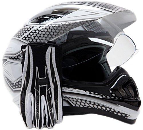 Dual Sport Helmet Combo w Gloves - Off Road Motocross UTV ATV Motorcycle Enduro - Silver  Black - XL
