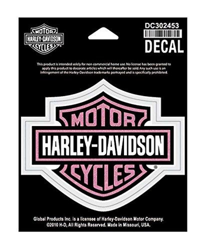 HARLEY-DAVIDSON Glittery Bar Shield Decal MD Size Pink Logo DC302453