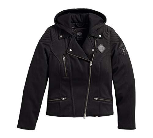 HARLEY-DAVIDSON Womens Reinforced Slim Fit Riding Hooded Jacket Black Medium