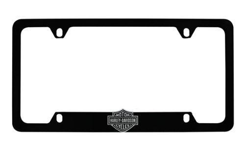 Harley-Davidson Flat Matte Black License Plate Frame Holder With 3D Bar Shield